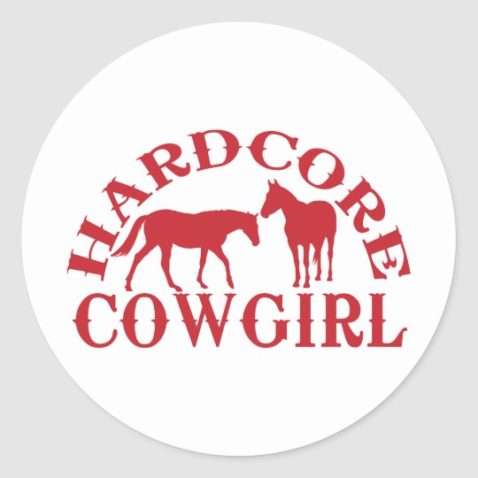A262 hardcore cowgirl red classic round sticker