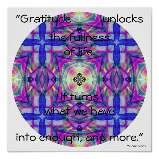 A27 Watercolor Kaleidoscopic Mandala.5 with Quote Poster