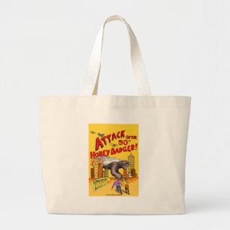 A2 Attack of the 50ft Honey Badger vintage 2 gemma Large Tote Bag