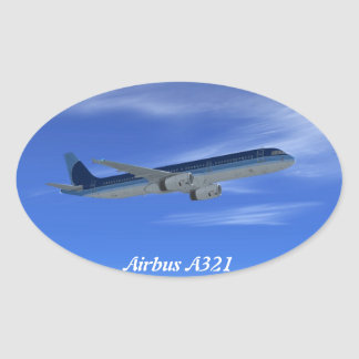 A321 Jet Airliner Aircraft Oval Sticker