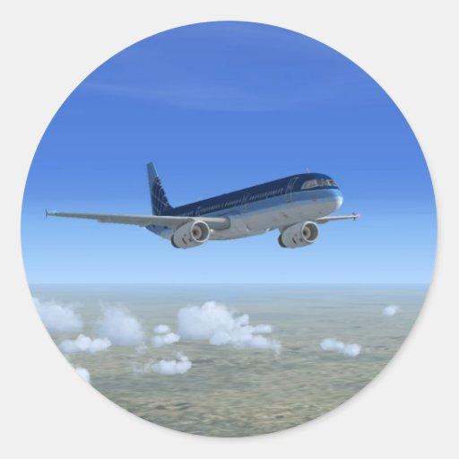 A321 Jet Airliner Aircraft Round Sticker