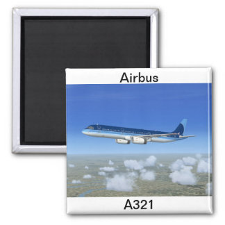 A321 Jet Airliner Aircraft Square Magnet
