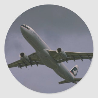 A330 airbus, Cathay Pacific airliner Classic Round Sticker