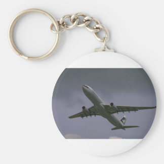 A330 airbus, Cathay Pacific airliner Basic Round Button Key Ring