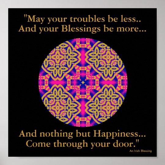 A40b Kaleidoscopic Mandala - Irish Blessing.2 Poster