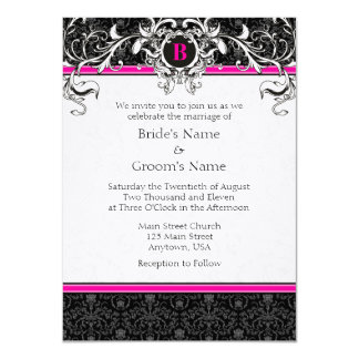 A6 Hot Pink & Black Damask Monogram Wedding Invite