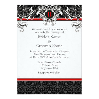 A6 Red & Black Damask Monogram Wedding Invitations