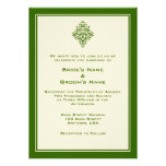 A7 Cream & Forest Green Simple Wedding Invitations