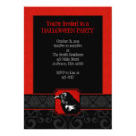 A7 Red & Black Raven Damask Halloween Invitations