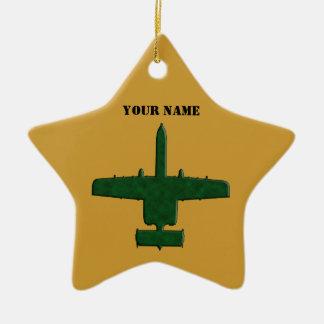 A-10 Warthog Silhouette Green Camo Airplane Christmas Ornament