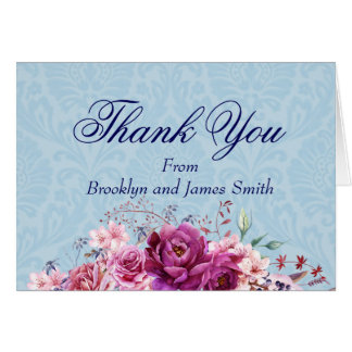 "A-1 Pink and Burgundy Floral Bouquet ""Thank You"" Card"