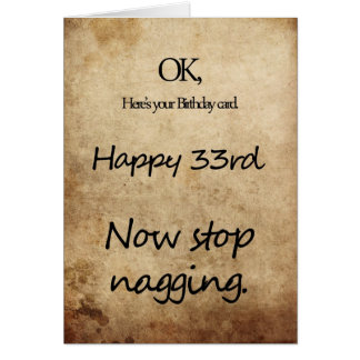 A 33rd birthday for a nag greeting card