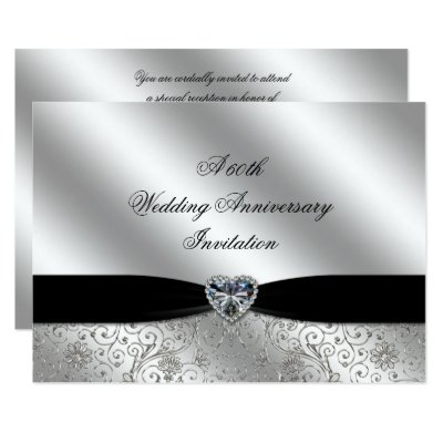 Flourish 60th Diamond Wedding Anniversary Invite Zazzlecouk