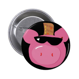 A adorable pink pig button. 6 cm round badge