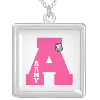 A - Army Square Pendant Necklace
