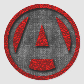 A as in freedom round sticker