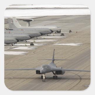 A B-1B Lancer arrives at Eielson Air Force Base Square Sticker