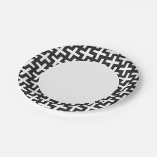A b&w patterns made with 'plus' sign 7 inch paper plate