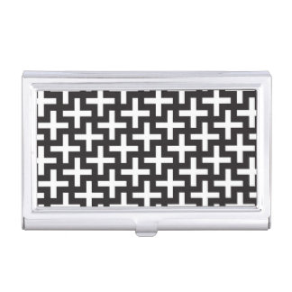 A b&w patterns made with 'plus' sign business card holder