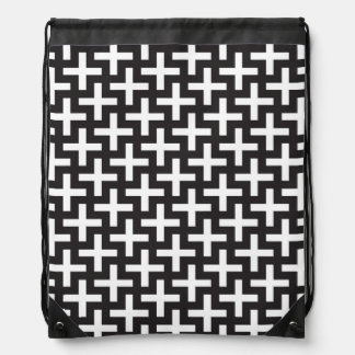A b&w patterns made with 'plus' sign drawstring bag