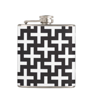 A b&w patterns made with 'plus' sign hip flask