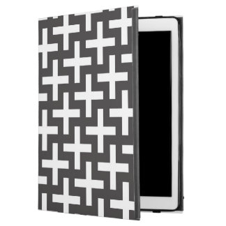 """A b&w patterns made with 'plus' sign iPad pro 12.9"""" case"""