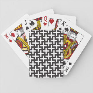 A b&w patterns made with 'plus' sign playing cards