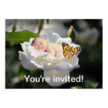 A baby and white rose invitation
