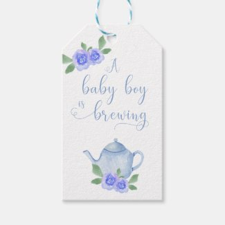 A Baby Boy is Brewing Blue Teapot and Flowers Gift Tags