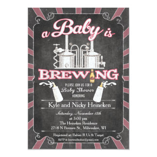 """A """"Baby is Brewing"""" Couples BBQ Invitation - Girl"""