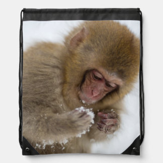 A baby Japanese Macaque (or snow monkey) Drawstring Bag
