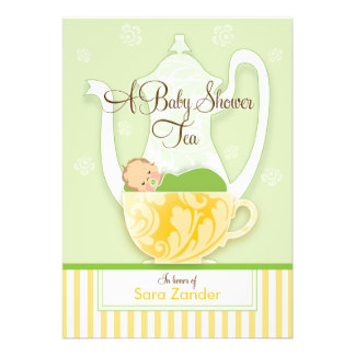 A Baby Shower Tea Party  |  Gender Neutral Custom Invitations