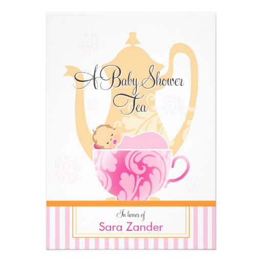A Baby Shower Tea Party     Girl Personalized Announcement