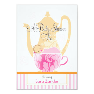 "A Baby Shower Tea Party  |  Girl 5"" X 7"" Invitation Card"