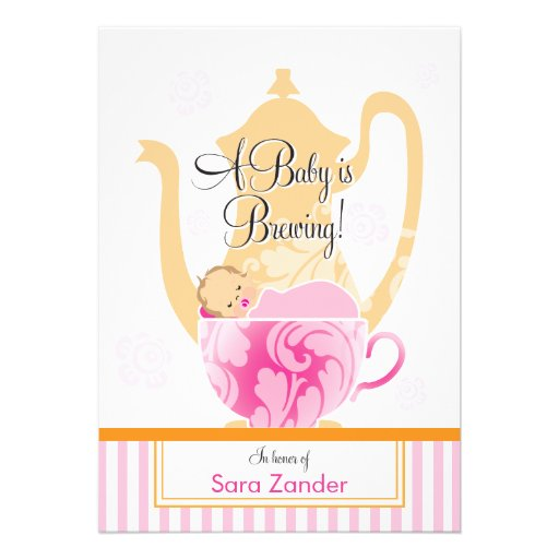 A Baby Shower Tea Party     Girl Personalized Invites