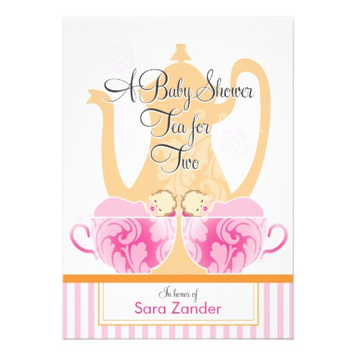 A Baby Shower Tea Party     Twin Girls Custom Invites