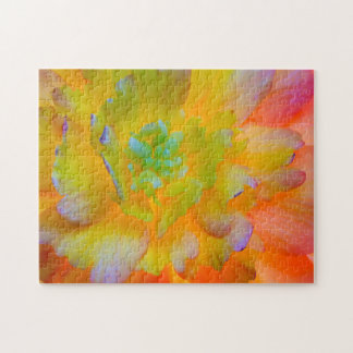 A back-lit, glowing begonia blossom jigsaw puzzle