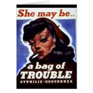 """""""A Bag of Trouble"""" WWII STI Warning Soldiers Greeting Card"""
