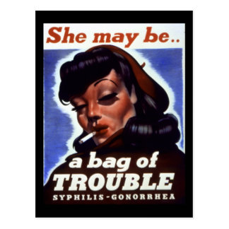"""""""A Bag of Trouble"""" WWII STI Warning Soldiers Postcard"""