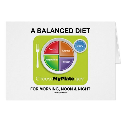 A Balanced Diet For Morning Noon And Night MyPlate Greeting Cards
