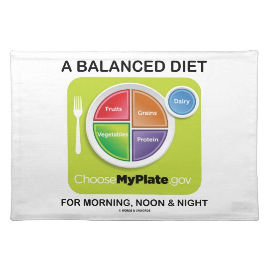 A Balanced Diet For Morning, Noon & Night MyPlate Placemat