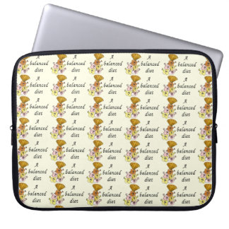 A Balanced Diet Funny Ice cream Quirky Art Slogan Laptop Sleeve