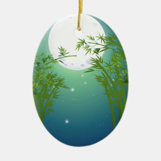 A bamboo forest under the bright fullmoon christmas ornament