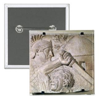 A Barbarian fighting a Roman legionary 15 Cm Square Badge