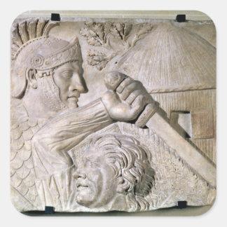 A Barbarian fighting a Roman legionary Square Stickers
