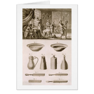 A barbershop and barber tools, from the 'Encyclope Greeting Cards