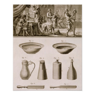 A barbershop and barber tools, from the 'Encyclope Poster