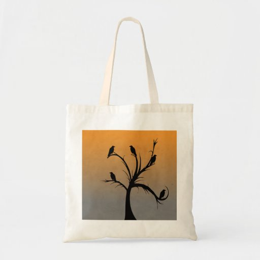 A Bare Tree with Silhouettes of Crows Canvas Bag