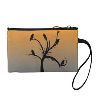 A Bare Tree with Silhouettes of Crows Change Purse