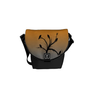 A Bare Tree with Silhouettes of Crows Messenger Bag